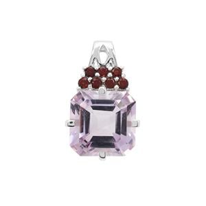 Rose De France Amethyst Pendant with Rajasthan Garnet in Sterling Silver 8.50cts