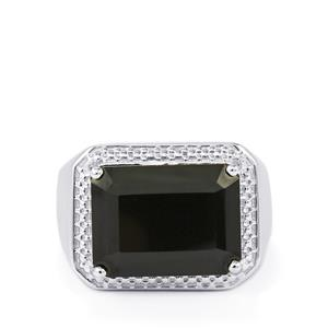 Black Spinel Ring  in Sterling Silver 14.07cts