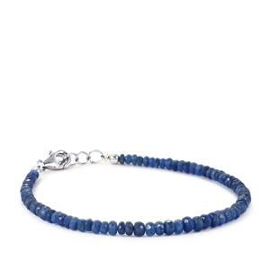 26ct Baw Mar Blue Sapphire Sterling Silver Graduated Bead Bracelet
