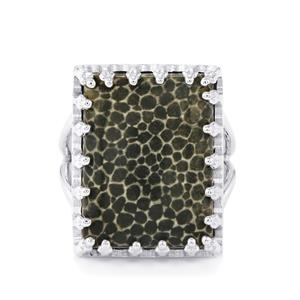 15.71ct Black Coral Sterling Silver Ring