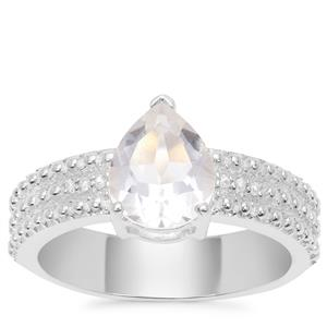 Optic Quartz Ring with White Zircon in Sterling Silver 1.78cts
