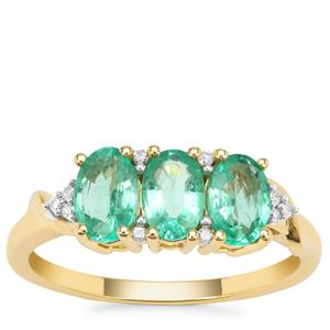 Ethiopian Emerald Ring with Diamond in 9K Gold 1.16cts