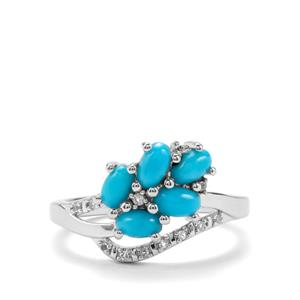 Sleeping Beauty Turquoise Ring with White Topaz in Sterling Silver 1.30cts