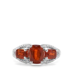 Loliondo Orange Kyanite & White Zircon Sterling Silver Ring ATGW 3.25cts