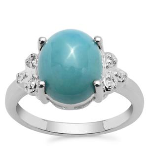 Sleeping Beauty Turquoise Ring in Sterling Silver 3.91cts