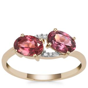 Mahenge Pink Spinel Ring with Diamond in 10K Gold 1.69cts