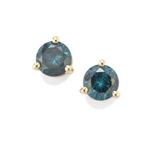 Blue Diamond Earrings in 10K Gold 0.52ct