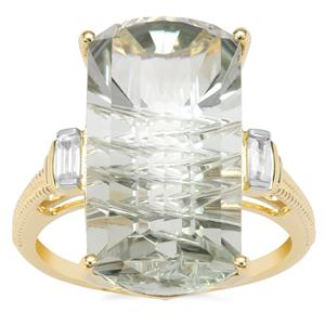 Lehrer Matrix Cut Prasiolite Ring with White Zircon in 9K Gold 10.66cts