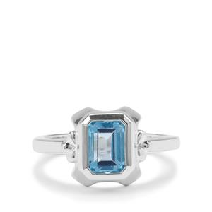 Swiss Blue Topaz Ring in Sterling Silver 1.82cts