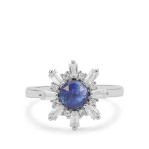 Rose Cut Sapphire Ring with White Zircon in Sterling Silver 2.34cts