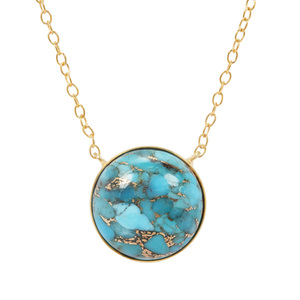 'Adventurer' Copper Turquoise Necklace in Gold Plated Sterling Silver 13.29cts