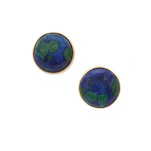 Azure Malachite Earrings in Gold Plated Sterling Silver 12.16cts