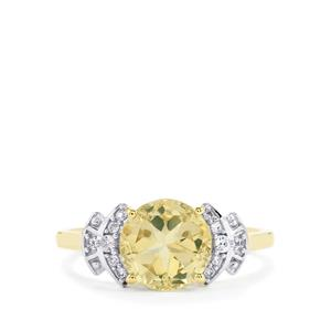 Serenite Lone Star Ring with White Zircon in 10k Gold 2.13cts