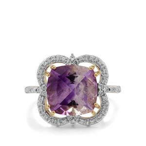 Boudi Hourglass Amethyst Ring with White Zircon in 9K Gold 5.20cts