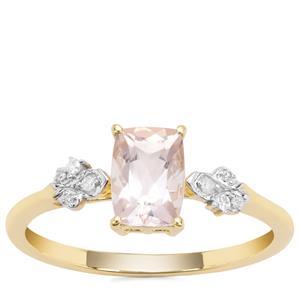 Alto Ligonha Morganite Ring with Diamond in 9K Gold 0.79cts