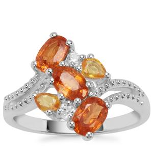 Mandarin Garnet, Yellow Sapphire Ring with White Zircon in Sterling Silver 2.37cts