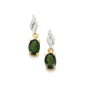 Chrome Tourmaline Earrings with Diamond in 18k Gold 1.37cts