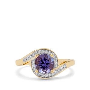 AAA Tanzanite Ring with Diamond in 18K Gold 1.30cts