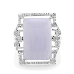 Blue Lace Agate Ring with White Zircon in Sterling Silver 13.30cts