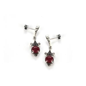 Madagascan Ruby & Marcasite Sterling Silver Jewels of Valais Earrings ATGW 4.07cts (F)