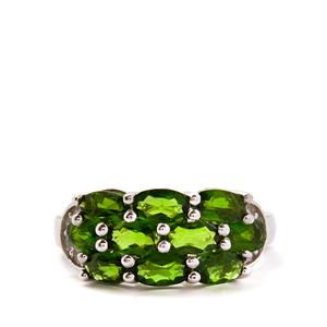 Chrome Diopside & White Topaz Sterling Silver Ring ATGW 2.84cts