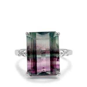 Zebra Fluorite Ring with White Topaz in Sterling Silver 12.33cts