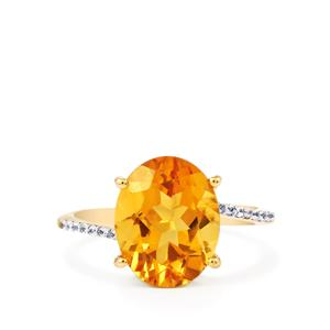 Rio Golden Citrine Ring with White Zircon in 9K Gold 4.13cts