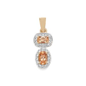 Ouro Preto Imperial Topaz Pendant with White Zircon in 10K Gold 1.28cts