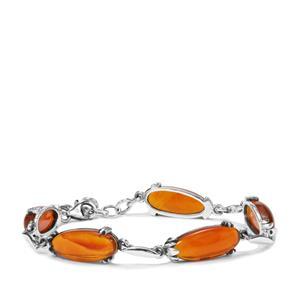 27.95ct American Fire Opal Sterling Silver Bracelet
