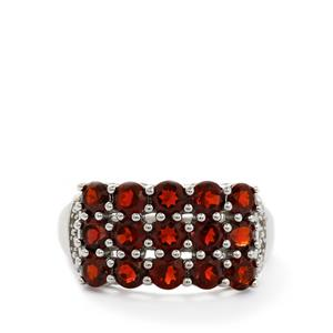 Rajasthan Garnet & White Topaz Sterling Silver Ring ATGW 3.53cts