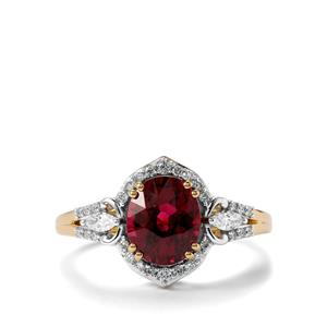 Comeria Garnet Ring with Diamond in 18K Gold 2.49cts