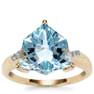 Wobito Alpine Cut Sky Blue Topaz Ring with Diamond in 9K Gold 5.69cts