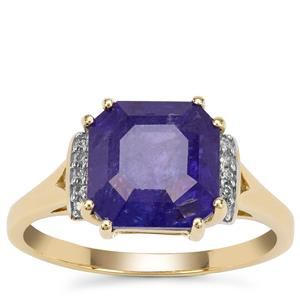 Asscher Cut Tanzanite Ring with Diamond in 9K Gold 4.14cts