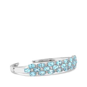 14.17ct Swiss Blue & White Topaz Sterling Silver Cuff
