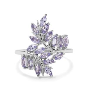 1.43ct Tanzanite Sterling Silver Leaf Ring
