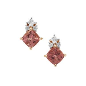 Rosé Apatite Earrings with White Zircon in 9K Gold 1.49cts