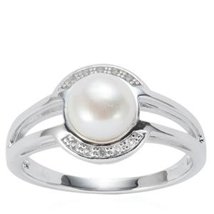 Kaori Cultured Pearl Ring  with White Topaz in Rhodium Flash Sterling Silver