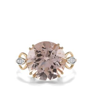 Rose Danburite Ring with White Zircon in 9K Gold 7.54cts