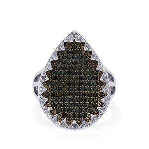 Black Spinel & Diamond Sterling Silver Ring ATGW 1.22cts