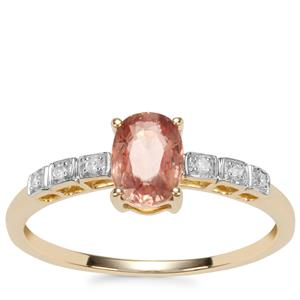 Padparadscha Sapphire Ring with Diamond in 9K Gold 0.94ct