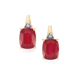 Malagasy Ruby Earrings with White Zircon in 10k Gold 9.06cts (F)