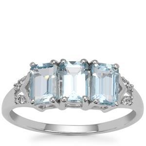 Pedra Azul Aquamarine Ring with White Zircon in 9K White Gold 1.50cts