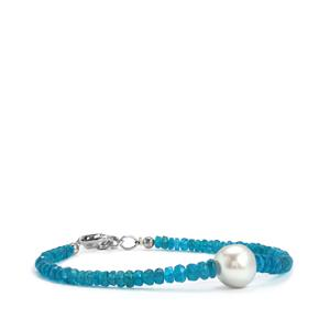 South Sea Cultured Pearl & Neon Apatite Sterling Silver Graduated Bead Bracelet (10.50mm)