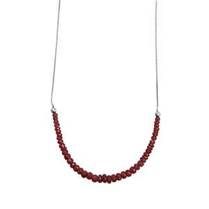 15.5ct Malagasy Ruby Sterling Silver Graduated Bead Slider Necklace (F)