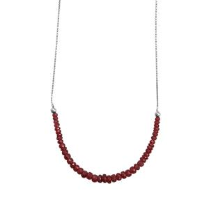 Malagasy Ruby Graduated Bead Slider Necklace in Sterling Silver 15.5cts (F)