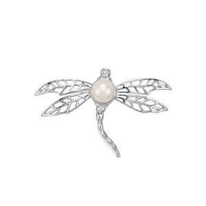 Kaori Freshwater Cultured Pearl Sterling Silver Dragonfly Pendant( 8mm)