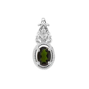 Chrome Diopside Pendant with White Zircon in Sterling Silver 0.75ct