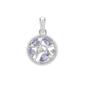 AA Tanzanite Pendant with White Zircon in Sterling Silver 1cts