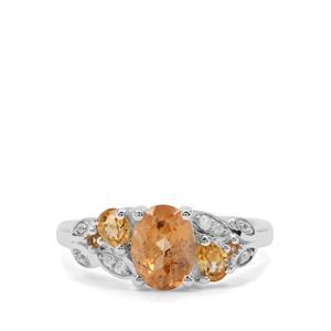 Imperial Garnet, Diamantina Citrine & White Zircon Sterling Silver Ring ATGW 1.93cts