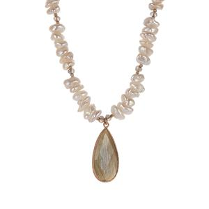 'The Raindrop' Baroque Cultured Pearl & Labradorite Sterling Silver Necklace